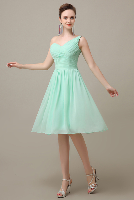2016 mint green knee-length chiffon one shoulder cheap simple bridesmaid  dress hot sale plus size bridesmaid Dress BD381 05f07961b747