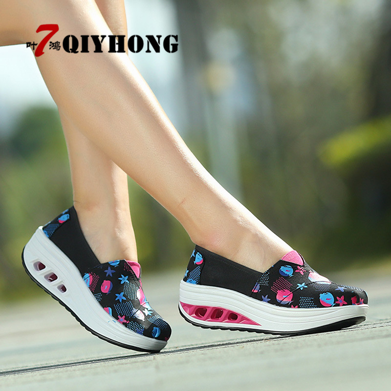 New Listing Women'S Shoes Casual Fashion Canvas Shoes Walking Flats Height Increasing Women Loafers Breathable Swing Wedges Shoe hot height increasing 2016 summer shoes women s casual shoes sport fashion walking shoes for women swing wedges shoes breathable