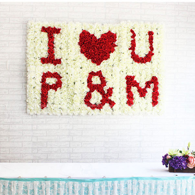 Custom Diy Initial Name Letters Flower Rows For Wedding Flower Wall