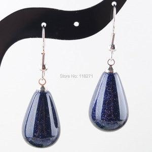 Image 1 - WOJIAER Natürliche Blau Sand Edelstein Stein Teardrop Perlen Baumeln Ohrringe Paar Für Frauen Schmuck PR3158