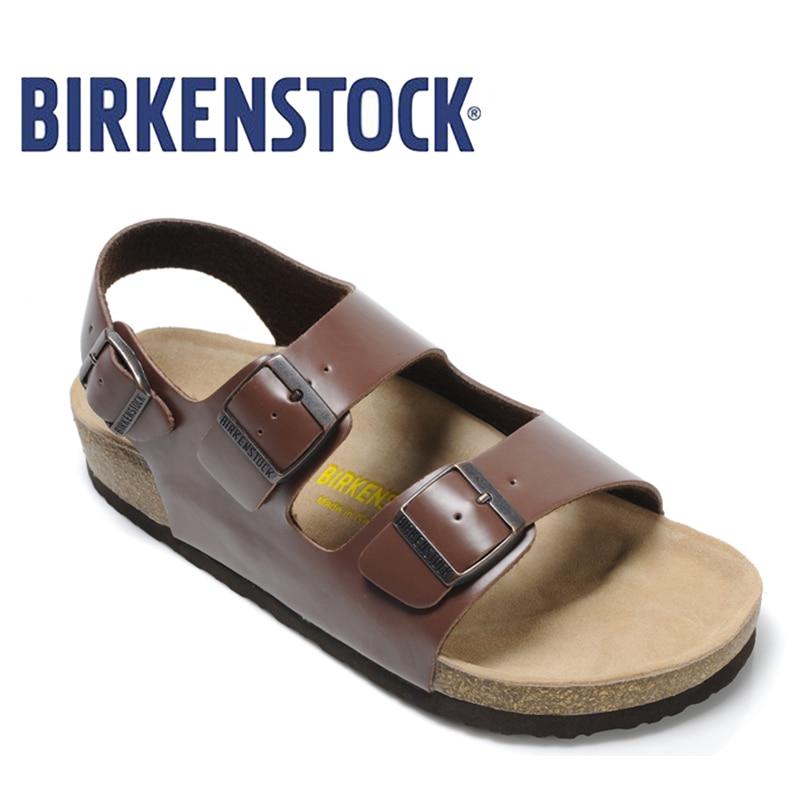 2018 Original Birkenstock Men 803 Beach Slippers Milano Basalt Sandal Leisure Men's Unisex Shoes Leather Cork Sandals Slippers birkenstock summer arizona soft footbed leather sandal women shoes unisex shoes modis 802 slippers women slippers outdoor