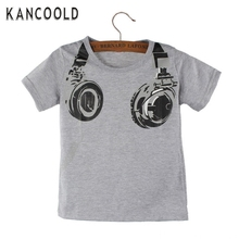 Garment 2017 Kids Boy Summer Size S leisure Casual Headphone Short Sleeve Tops Blouses Shirt for child