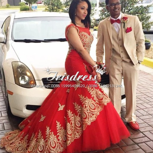 Red African Arabic Mermaid Prom Dresses with Gold Lace Appliques 2017 Plus  Size Black Girls Couple Fashion Formal Evening Gowns b5995ffbe9e1