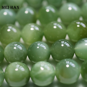 Image 2 - Meihan Wholesale (43pcs/set/52g) natural 9 9.5mm A+ Russian jadeite smooth round beads stone wholesale