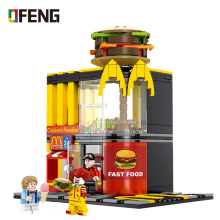 Mcdonald Hamburger Fast food restaurant series Building Blocks City Street View Bricks Compatible Model toys Gifts for Children недорого