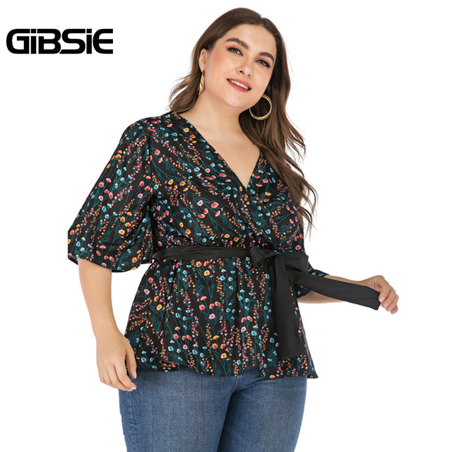 GIBSIE Plus Size Elegant Floral Print V-neck Wrap Blouse Women 2019 Summer Casual Belted Hafl Sleeve Ladies Tops and Blouses 1
