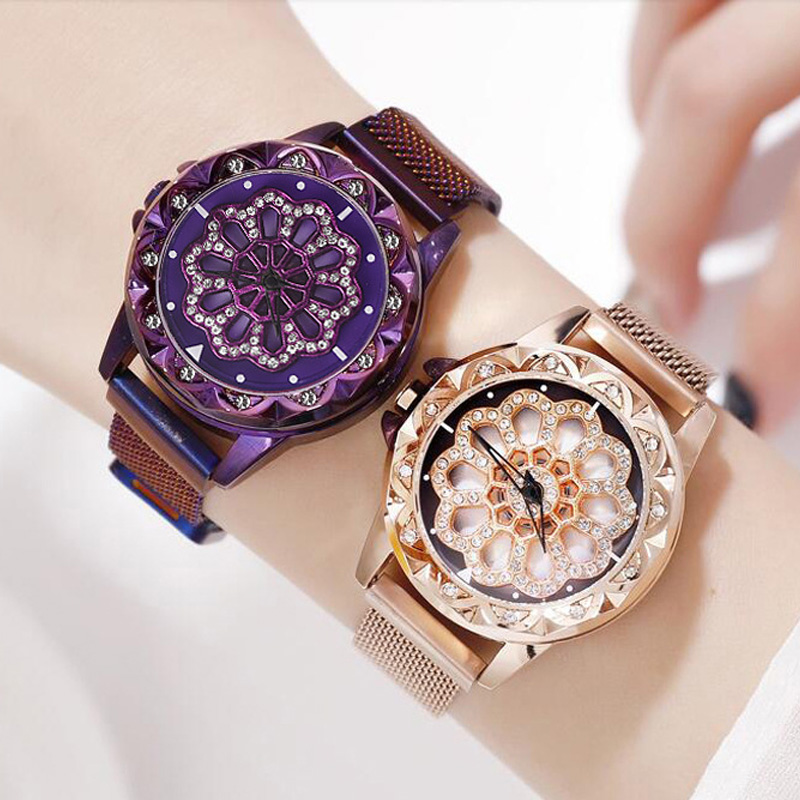 New Women Bracelet Watches 2019 Women's Rotating Magnetic Lucky Watch Fashion Ladies Crystal Quartz Wrist Watches Reloj Femenino