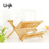Urijk Wooden Storage Holders Kitchen Dish Rack Folding Lek Leaf Bamboo Storage Rack Cutlery Shelf Double