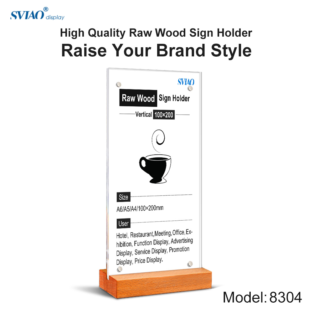 100*200mm wooden base acrylic table menu sign holder display stand frame board for restaurant coffee shop