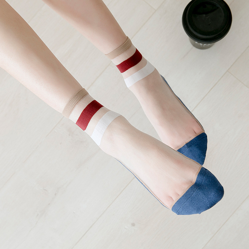 Women Casual Socks 1 Pair 2019 Spring New Girl Color Women Fashion Long Thin Socks For Woman Breathable Transparent Korean Style