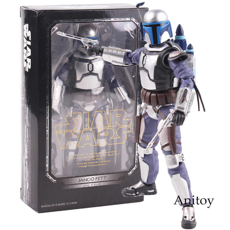 SHF Figure Star Wars Anime Figurine Star Wars Jango Fett Bounty Hunter PVC Action Figure Collectible Model Mainan
