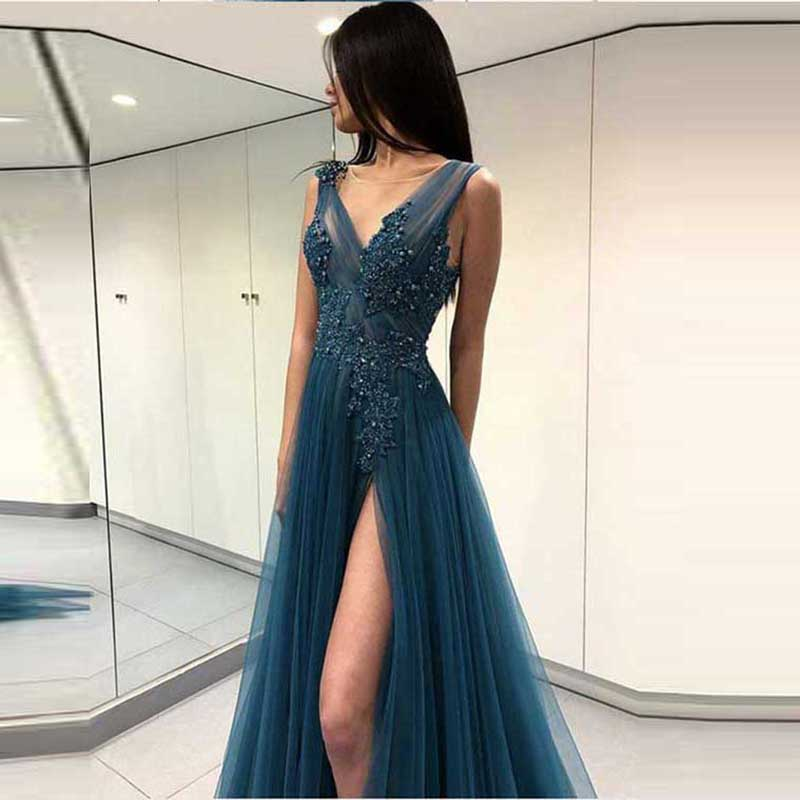 Sexy V Neck Evening Dress Long Side Split Tulle with Lace Appliqued Beading Sleeveless Evening Gowns