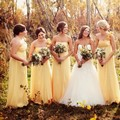 2015 New Arrival Ladies Country Style Brautjungfernkleid Gown Womens Party A Line Formal Dress Yellow Chiffon Bridesmaid Dresses