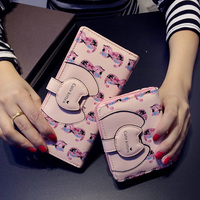 Pu Women Long Wallet Fresh Cat Character Purse Hasp Tassel Printing Cute Money Clip Preppy Style