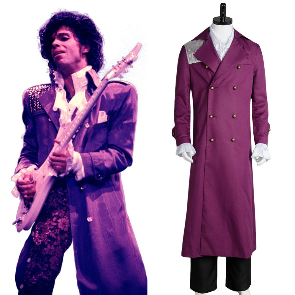Prince Rogers Nelson in Purple Rain Coat Costume Cosplay For Men and Women Whole Set