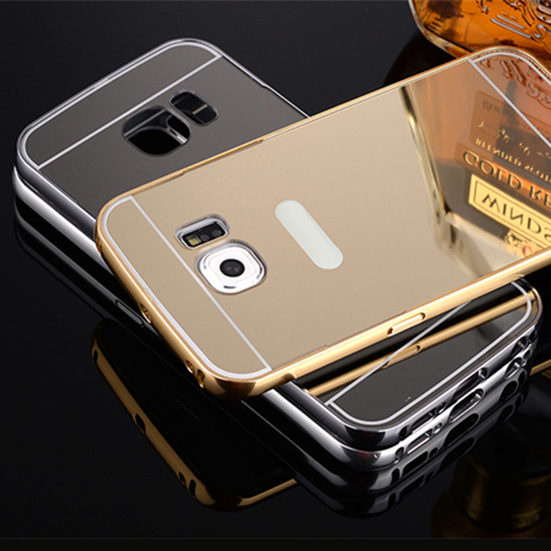 for Samsung Galaxy S6 S5 S4 S3 Edge Case Luxury Gold Plating Aluminum Frame + Mirror Acrylic for Samsung S6 Cover for Samsung S7