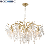 BOCHSBC American Simple Crystal Pendant Lights Artistic Lampada Led European Luxury Iron Led Lamp for Parlor Bedroom Villa Lamp
