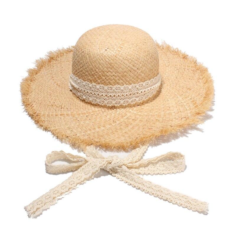 Moda Feminina Dobrável Ráfia Palha Chapéu de Sol Com Fita Do Laço Natural  Crunch Chapéus De 7a2669cd3ef