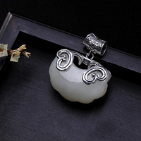 Real Pure Silver 925 Jewelry White Jade Pendant For Women Natural Gemstone Ethnic Fine Jewelry Collier Pierre Naturelle