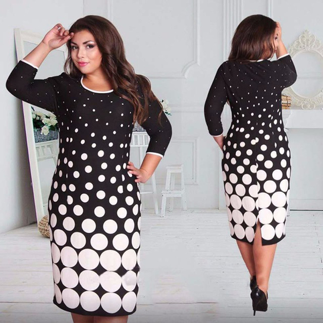 a6058b429eed7 US $15.47 33% OFF Big Size Fashionable Women Dresses New 2018 Plus Size  Women Clothing 6xl Winter Dress Casual O neck Plaid Office Bodycon Dress-in  ...