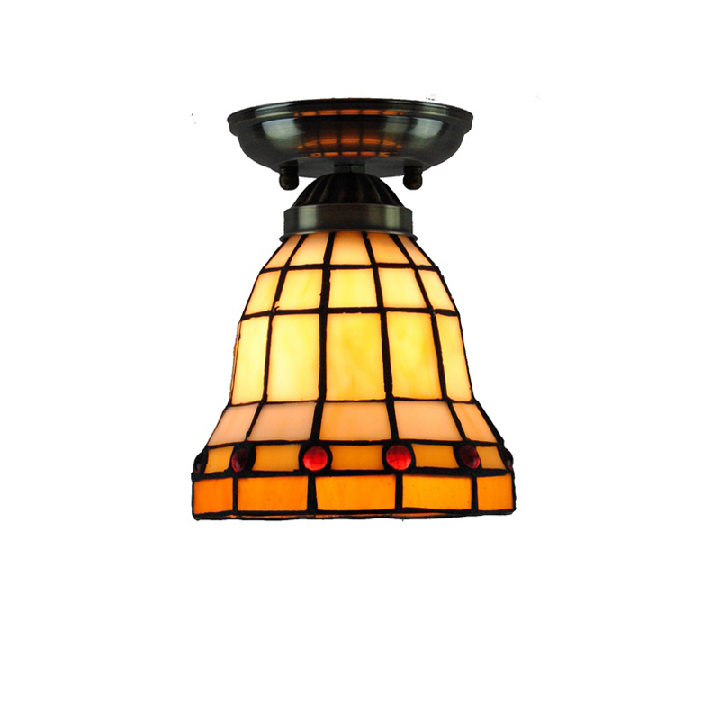 14cm Classic Tiffany Stained Glass Ceiling Light E26/E27 Modern Retro Flush Mount Lamp Bar Balcony Aisle Staircase Lighting C245 fumat stained glass ceiling lamp european church corridor magnolia etched glass indoor light fixtures for balcony front porch