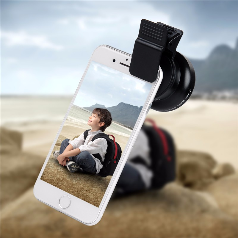 TURATA Fisheye Lens 2 in 1 Professional HD Phone Camera Lens Kit 0.45X Wide Angle+12.5X Macro Clip-on Fish Eye for Smartphone 6