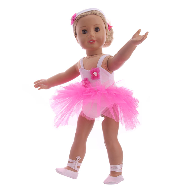 Fleta Doll Clothes Ballet Skirt  Shoes  Hair Band Fit 18 -4855