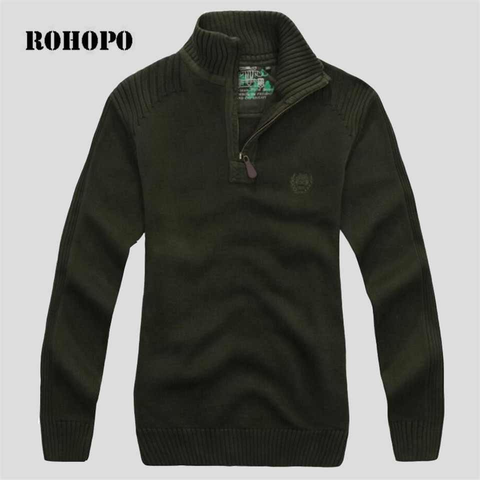 ROHOPO Zipper Collar Military Style Man's Army Casual Pullover Sweater,Loose Power Cargo Tooling Field Survival Knitted Wear Men