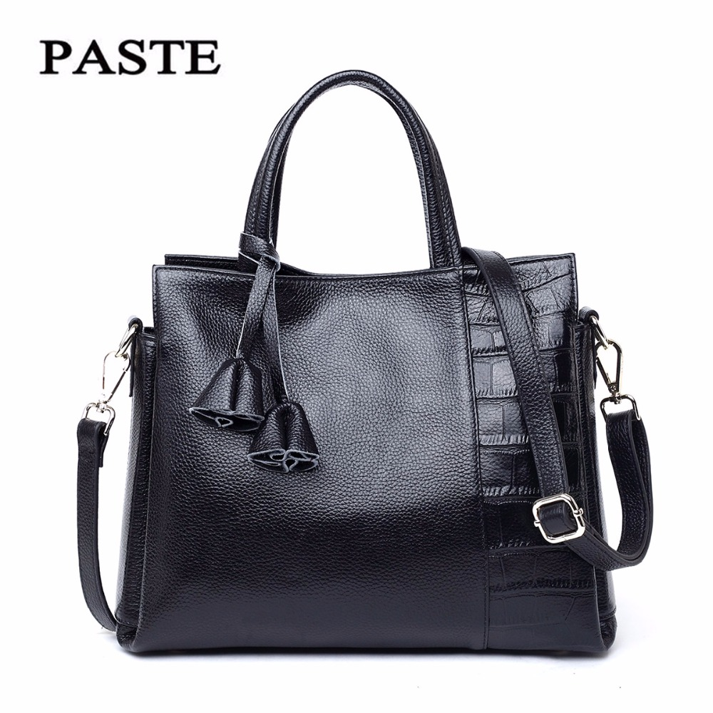 Paste Women Bags Genuine Leather Shoulder Bags Soft Leather Crossbody Handbags Solid New Lady Messenger Bag 2018 Totes p1272