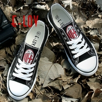 2017 New AC MILAN Football Club Fans Customization Canvas Shoes Print Casual Shoes Women Men Canvas