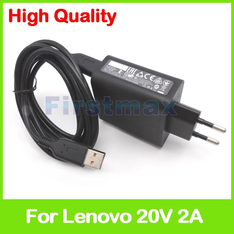 20V 2A 5.2V 2A USB AC Power Adapter for Lenovo tablet pc charger 36200616 ADL40WLG ADL40WLH 36200617 36200618 EU Plug 5v 2a ac power charger adapter for tablet pc black eu plug 100 240v 100cm cable