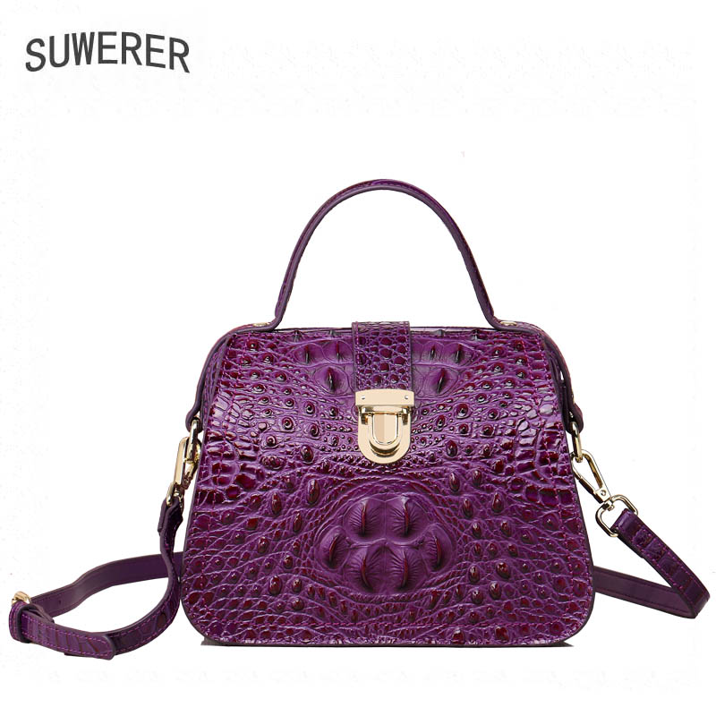 SUWERER New Superior cowhide genuine leather tote women handbags Embossed crocodile pattern Fashion butterf luxury leather bag tomubird new superior cowhide leather classic designer embossed crocodile leather tote top handle handbags genuine leather bag