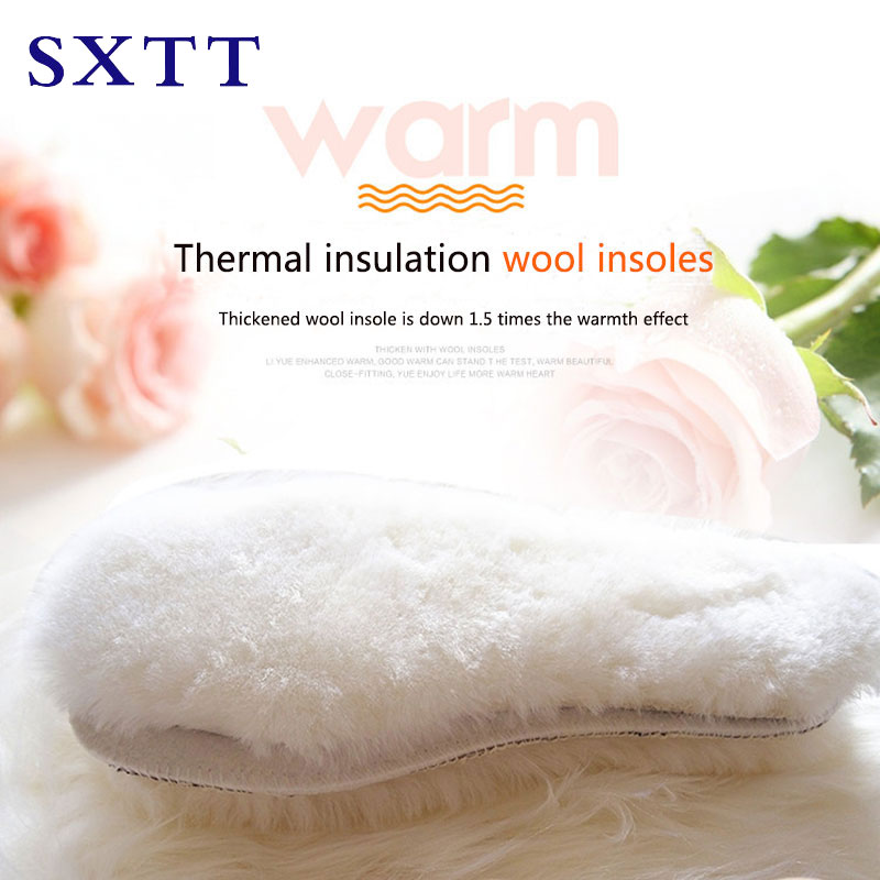 SXTT Natural Sheepskin wool boot Insoles Cashmere Thermal Shearling Snow Boots Shoe Pad  Fur Wool Adult  Winter Shoes Warm