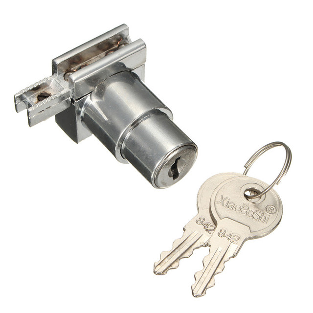 Plunger Push Lock With 2 Key For Sliding Glass Door Showcase Lock