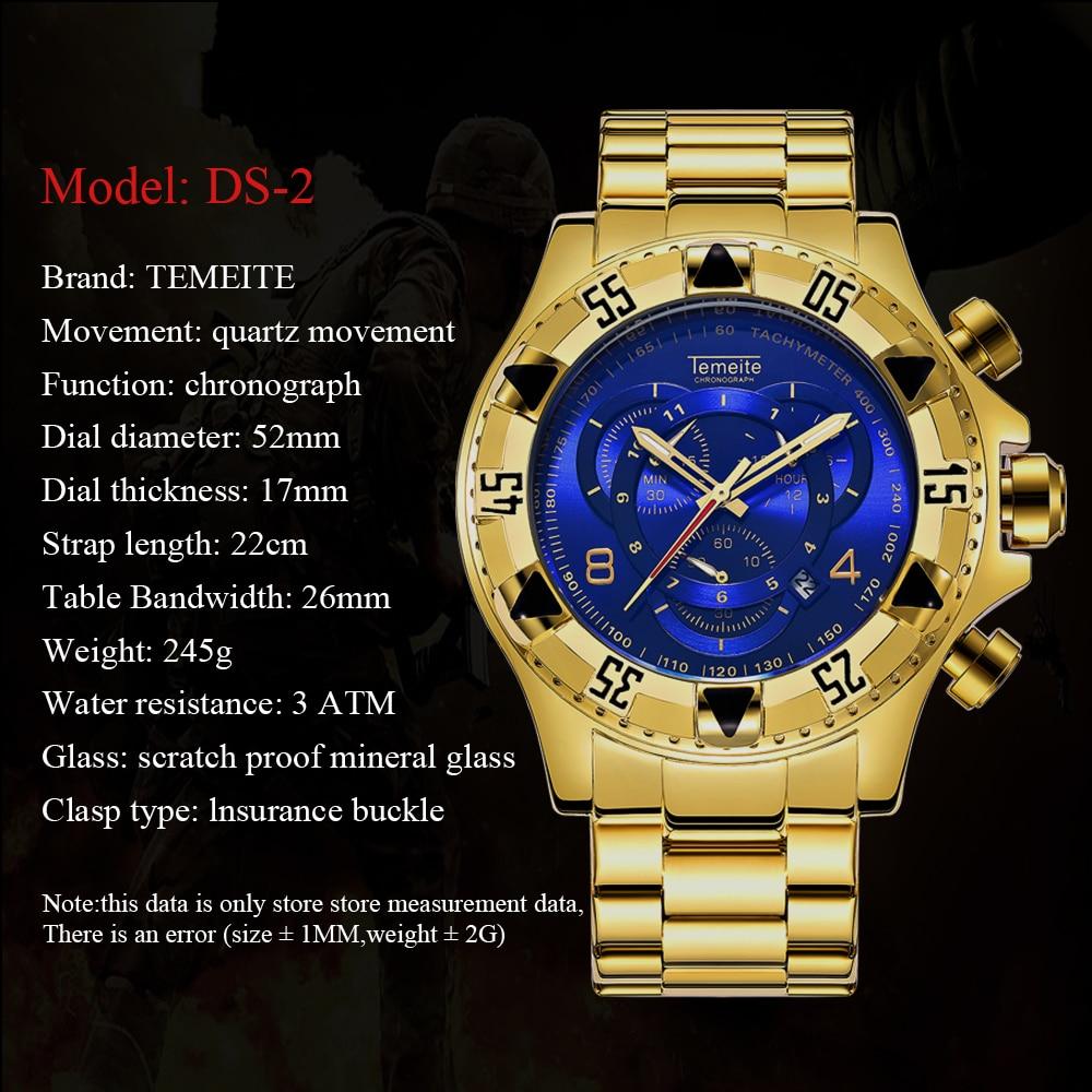 TEMEITE Fashion Oversize Quartz Watch Men Chronograph Working 3 Sub-dial 6 Hands Golden Military Mens Watches Top Brand Luxury 10