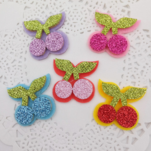 Sew on Glitter Felt Patches For Clothes 3cm Cherry Shape 80pcs Scrapbooking Accessories Mixed Five Colors