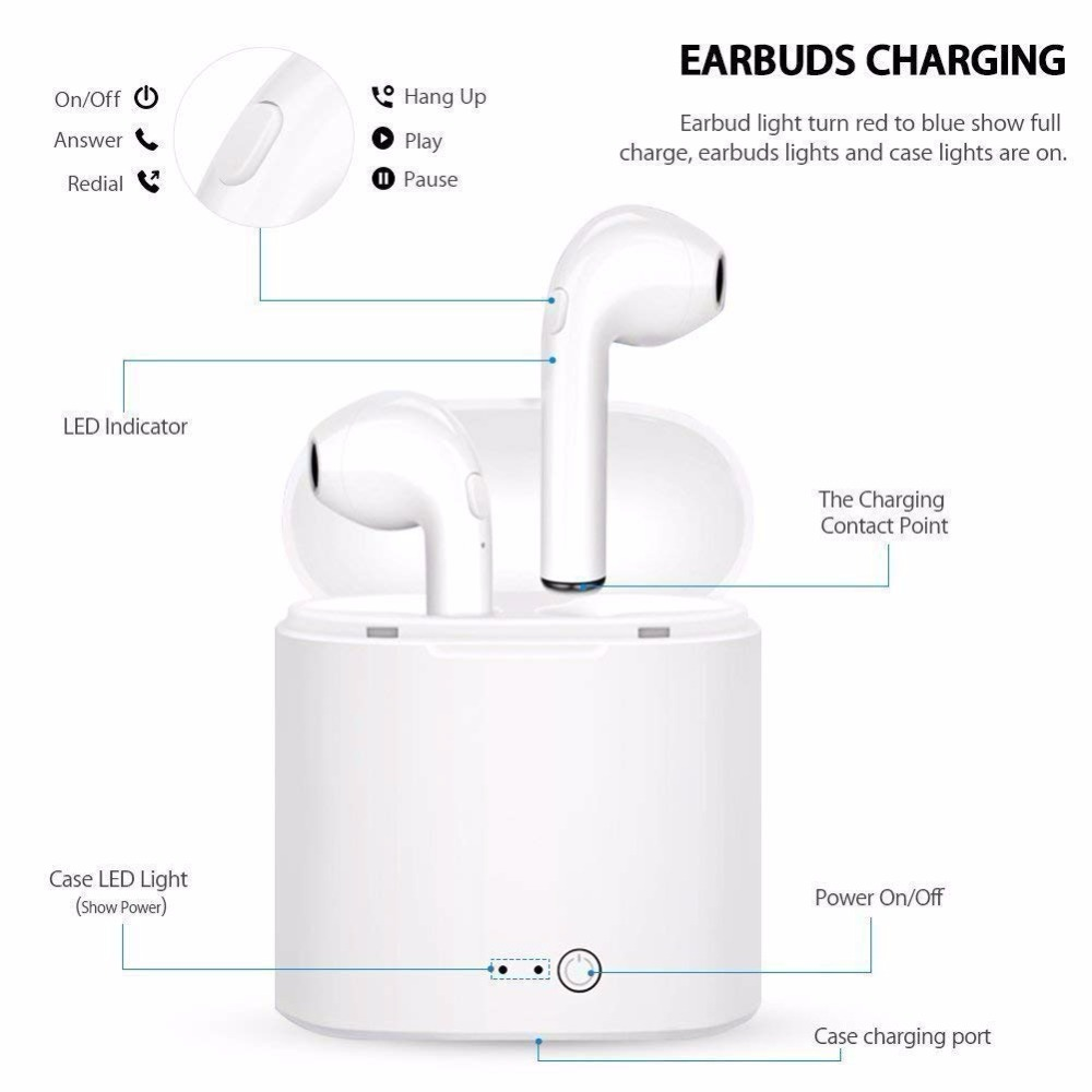 Image 2 - Bluetooth Earbuds i7S Wireless Headphones TWS Headsets Stereo In Ear Earphones With Mic Charging Box for ios and Android Phone-in Bluetooth Earphones & Headphones from Consumer Electronics
