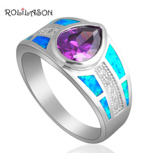 Summer fashion brand Silver Stamped fashion jewelry Crystal Blue fire Opal wedding Rings Opal jewelry USA SZ #8 #7 OR499