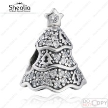 2016 New Twinkling CZ Pave Christmas Tree Charm Beads 925 Sterling Silver Jewelry Festival Charms Fits European Charm Bracelets