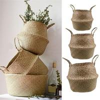 1 Set Seagrass Foldable Wickerwork Basket Rattan Hanging Flower Pot Planter Woven Dirty Laundry Hamper Storage