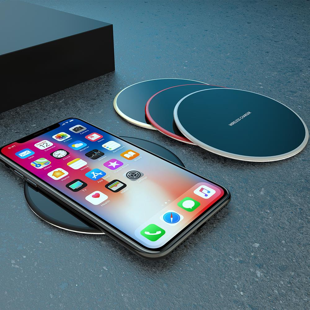 Sim Металл Беспроводной зарядного устройства коврик быстро Зарядное устройство для iPhone 8 Plus X Беспроводной Зарядное устройство для samsung Galaxy S9 …