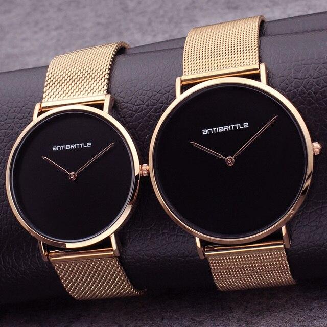 e853be48336 Japão Quartz Homem Mulher Relógio Preto De Luxo Ultra Fino Ouro Rosa Moda  Couro Simples Malha