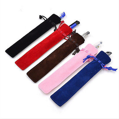 5 Pcs Velvet Pen Pouch Holder Single Pencil Bag Pen Case With Rope For Rollerball FountainBallpoint Pen