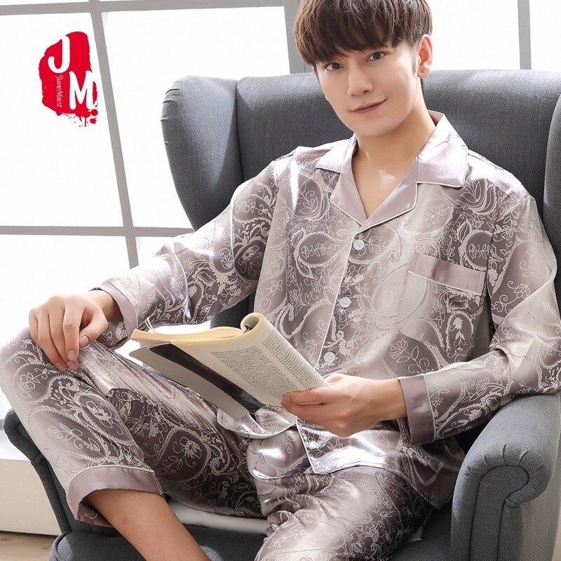 2018 Seide Männer Pyjama Sets Solide Langarm Satin Nachtwäsche Männer Sommer Anzug Zwei-stück Pyjamas Männliche Homewear Plus Größe L Xxl Xxxl