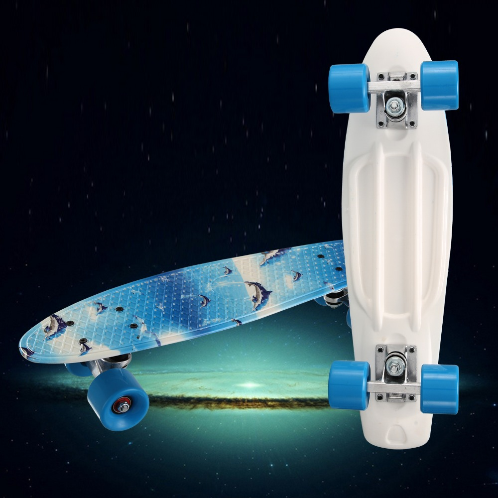 22*06 pouce Skate Board Arc-En-Style Mini Cruiser Longue Planche Pastel Couleur Enfant Adulte planche à Roulettes de Poissons Clignotant Roues