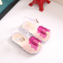 Baby sandals 2019 summer new mini Sed Jelly baby girl ice cream cute cartoon beach shoes soft bottom toddler girl shoes