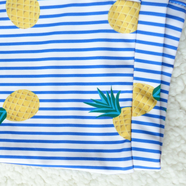 Baby Swim Trunks with Bathing Cap Blue Striped Pineapplel Print Beach Wear for Boys Swimming Pants
