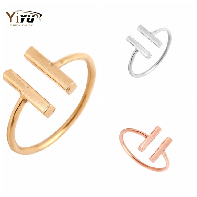 2017 New F Classic Double Bars Rings Women Cool Unique Adjustable Bar Shape Midi Rings for Women R115