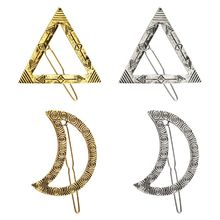 Ethnic Geometric Texture Metal Alloy Frog Bobby Pins Women Vintage Triangle Moon Shaped Hair Clip Ponytail Decorative Barrettes triangle shaped hair clip