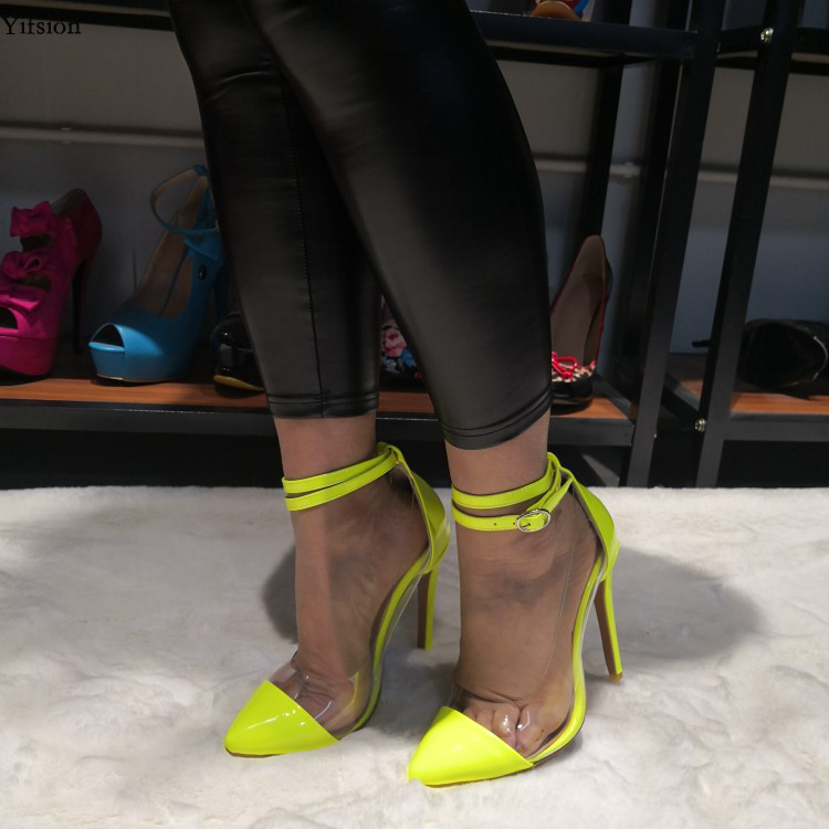 Yifsion Women Ankle Strap Pumps Stiletto High Heels Pumps Nice Pointed Toe Gorgeous Yellow Casual Shoes Women Plus US Size 5-15Yifsion Women Ankle Strap Pumps Stiletto High Heels Pumps Nice Pointed Toe Gorgeous Yellow Casual Shoes Women Plus US Size 5-15